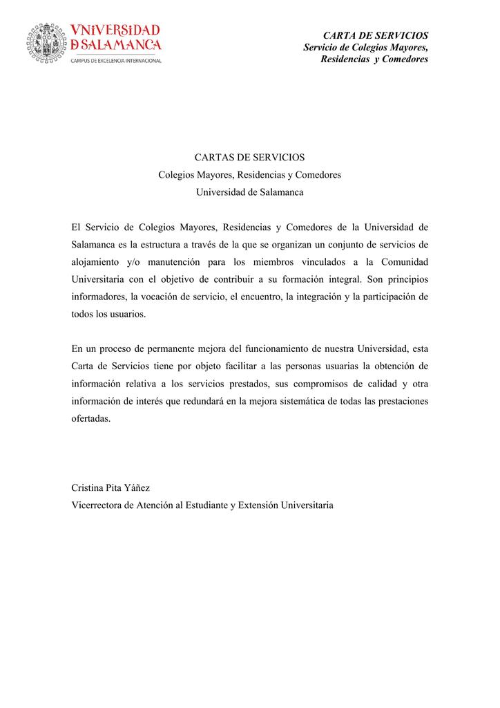 Carta de servicios - Universidad de Salamanca