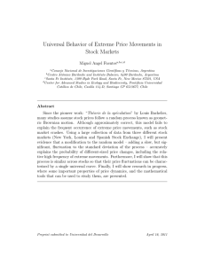 Universal Behavior of Extreme Price Movements in Stock Markets