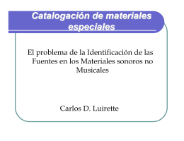 Catalogación de materiales especiales