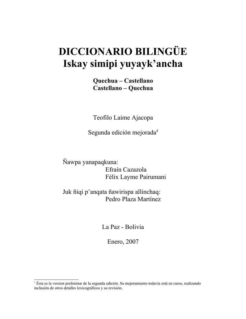 Diccionario Yuyayk`anchaQuechua Diccionario Simipi BilingüeIskay Simipi BilingüeIskay wuOTkXZPi