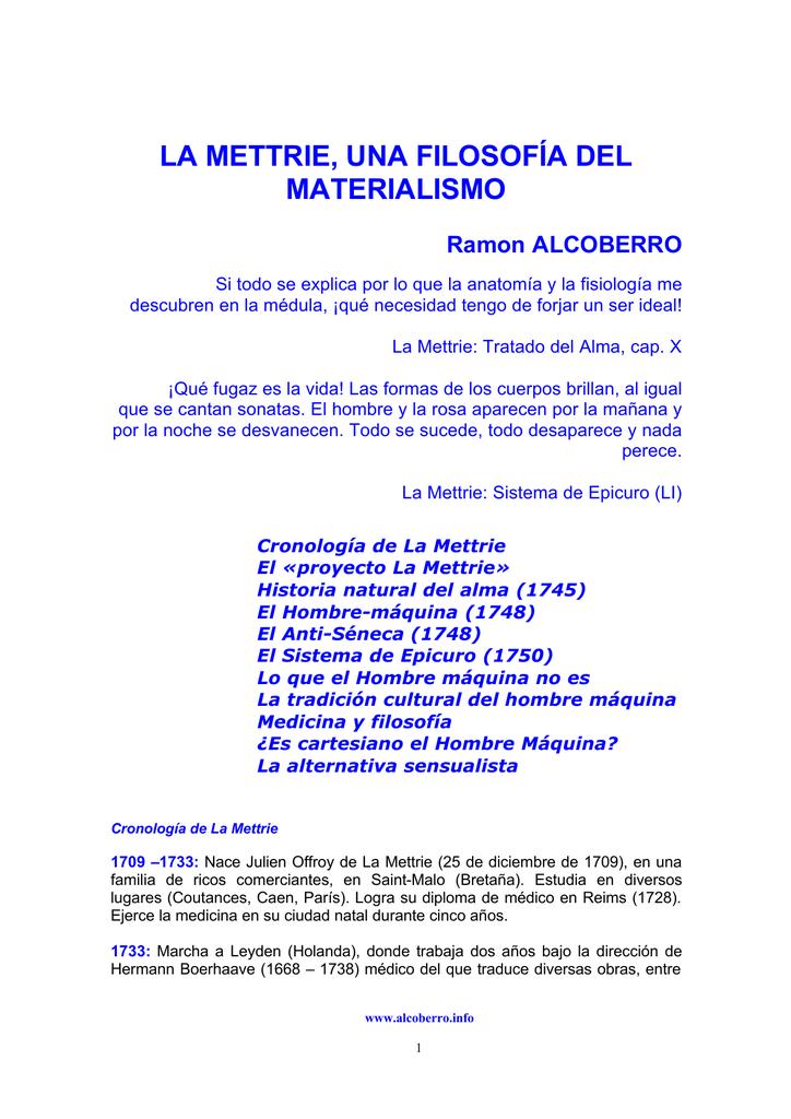 LA METTRIE, UNA FILOSOFÍA DEL MATERIALISMO