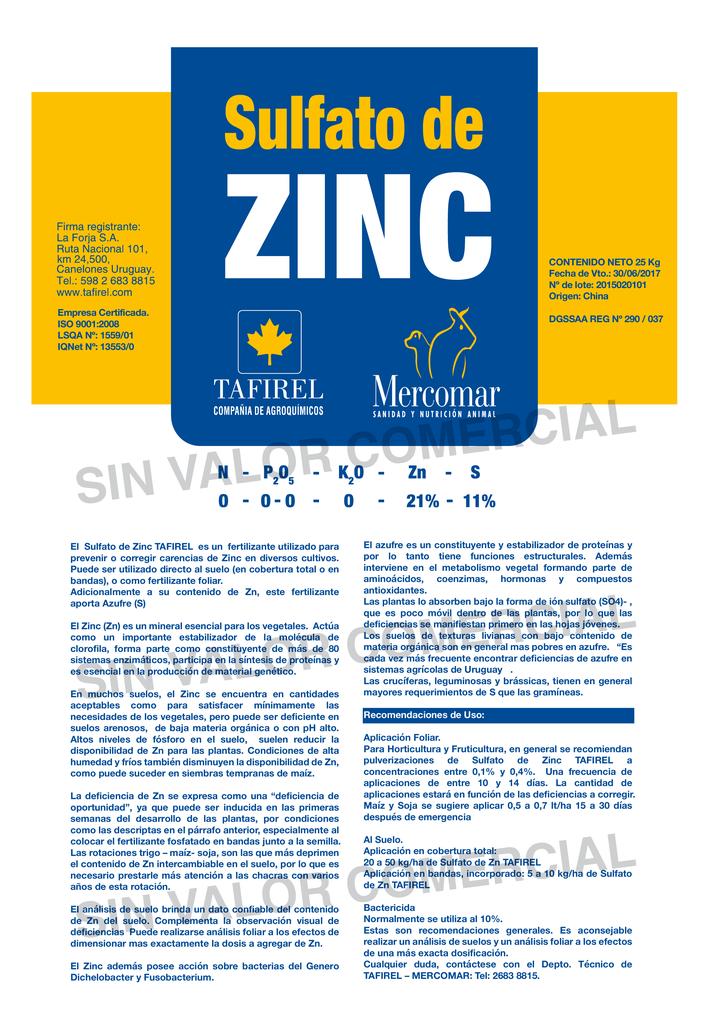 El sulfato de zinc para que sirve
