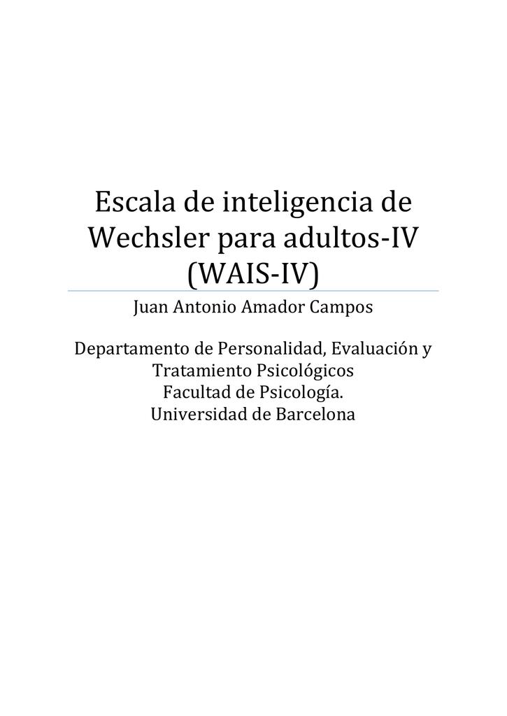 Escala de inteligencia de Wechsler para adultos-WAIS