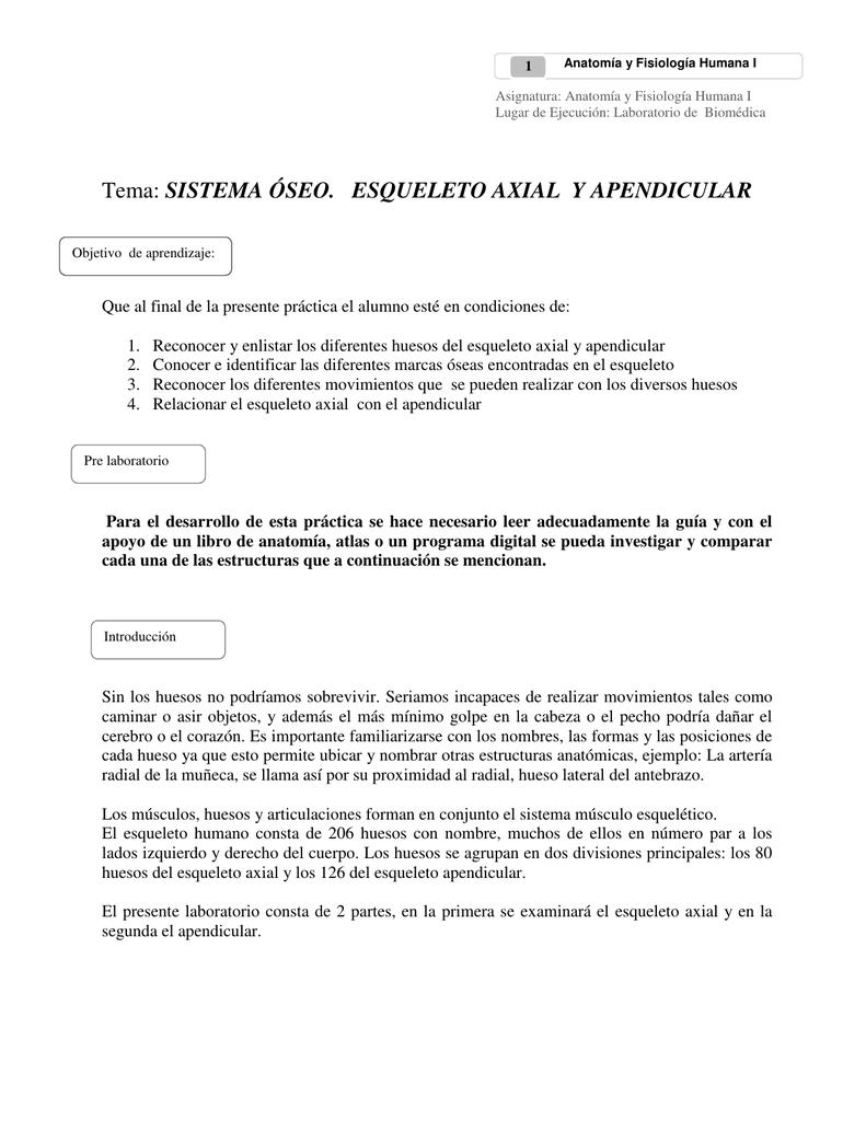 Tema: SISTEMA ÓSEO. ESQUELETO AXIAL Y APENDICULAR