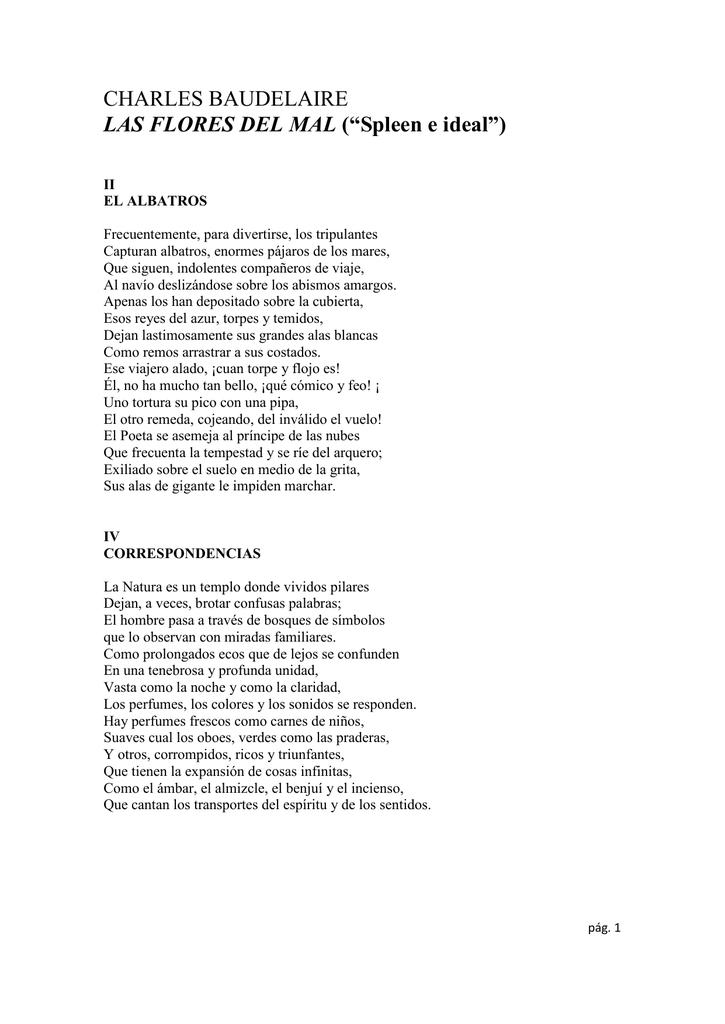 Charles Baudelaire Las Flores Del Mal Spleen E Ideal