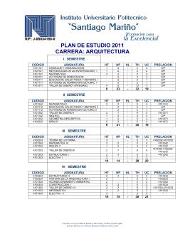 Plan de estudio 2011 carrera polit cnico santiago mari o for Arquitectura 5 de mayo plan de estudios