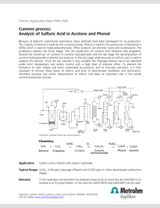 Cumene process: Analysis of Sulfuric Acid in Acetone