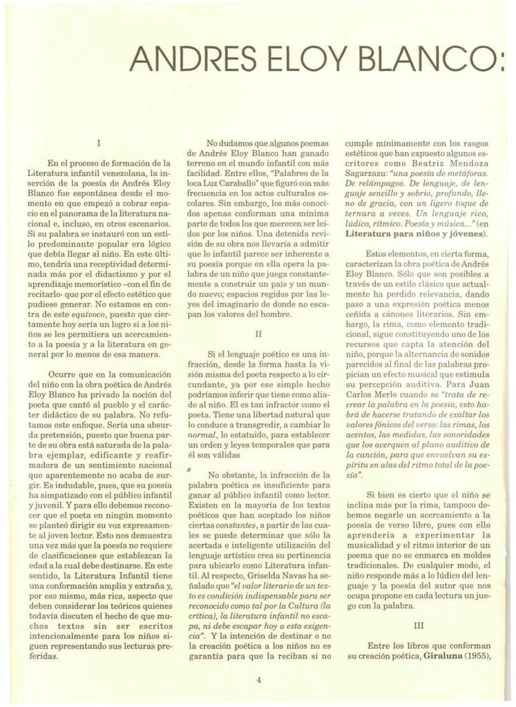 Andrés Eloy Blanco Una Lectura Del Poema Infantil En
