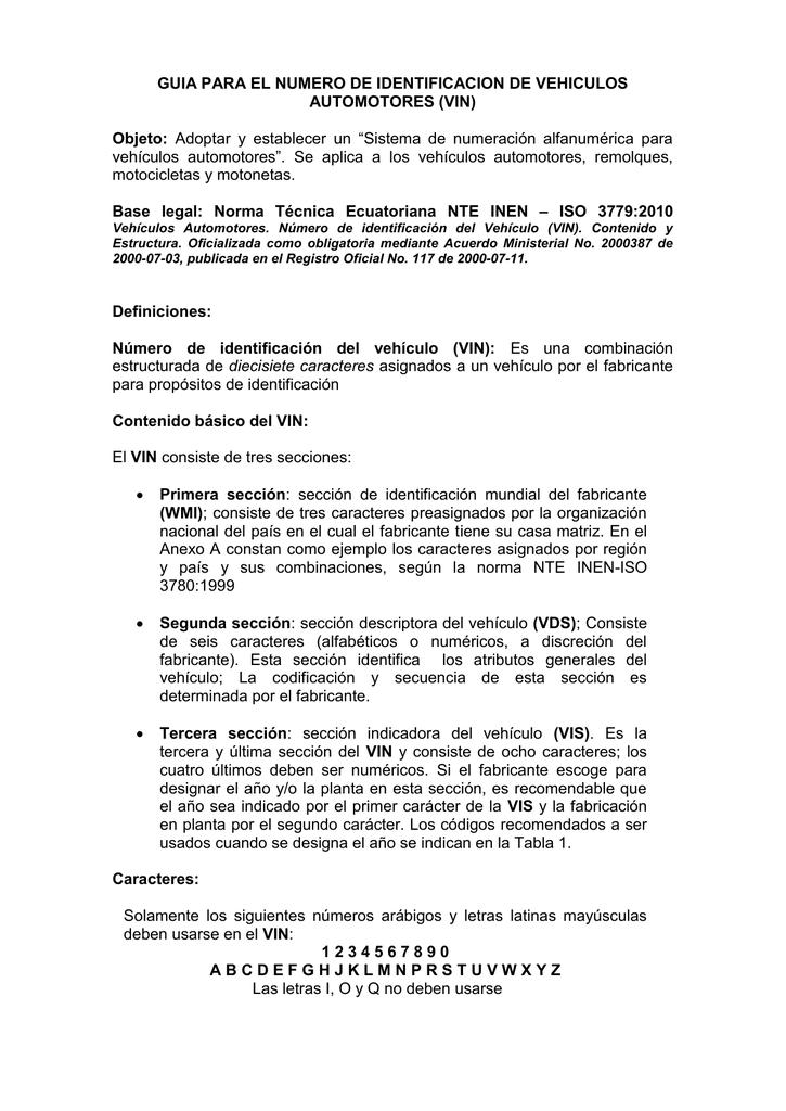 NUMERO DE IDENTIFICACION DE VEHICULOS AUTOMOTORES