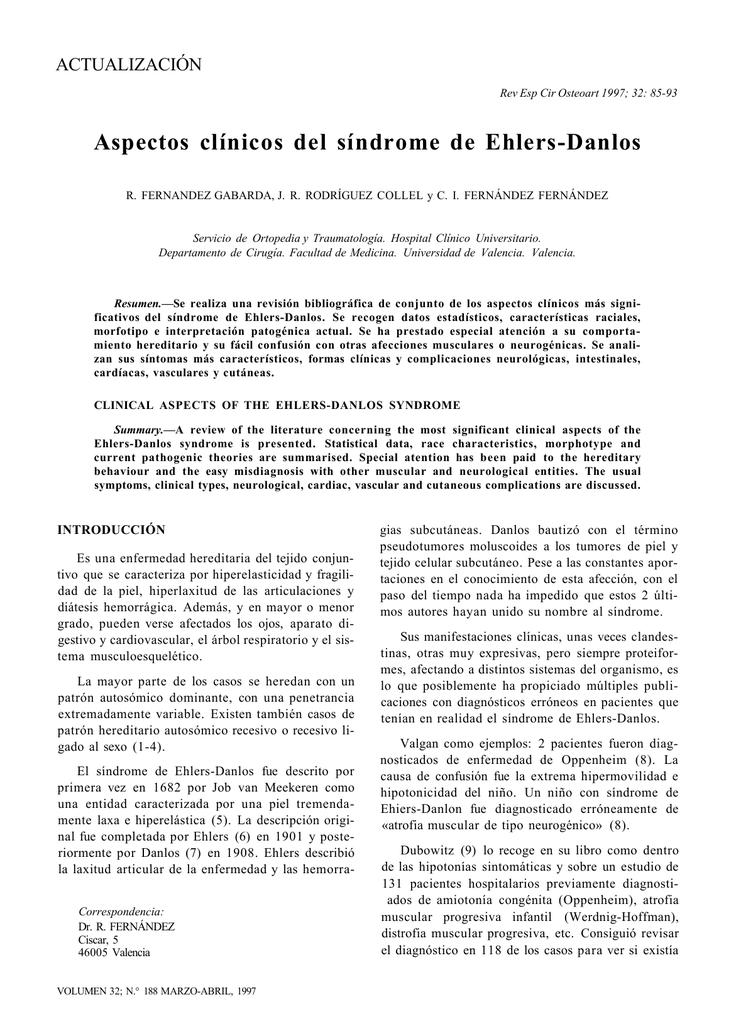Aspectos clínicos del síndrome de Ehlers-Danlos