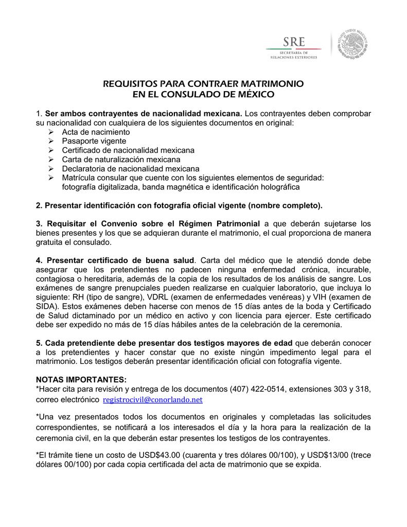 requisitos para contraer matrimonio en el consulado de méxico