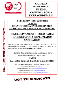 ultima convocatoria extraordinaria exclusivamente solo para