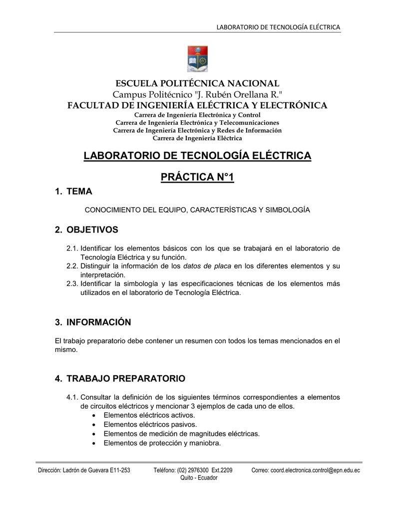 laboratorio de tecnología eléctrica práctica n°1