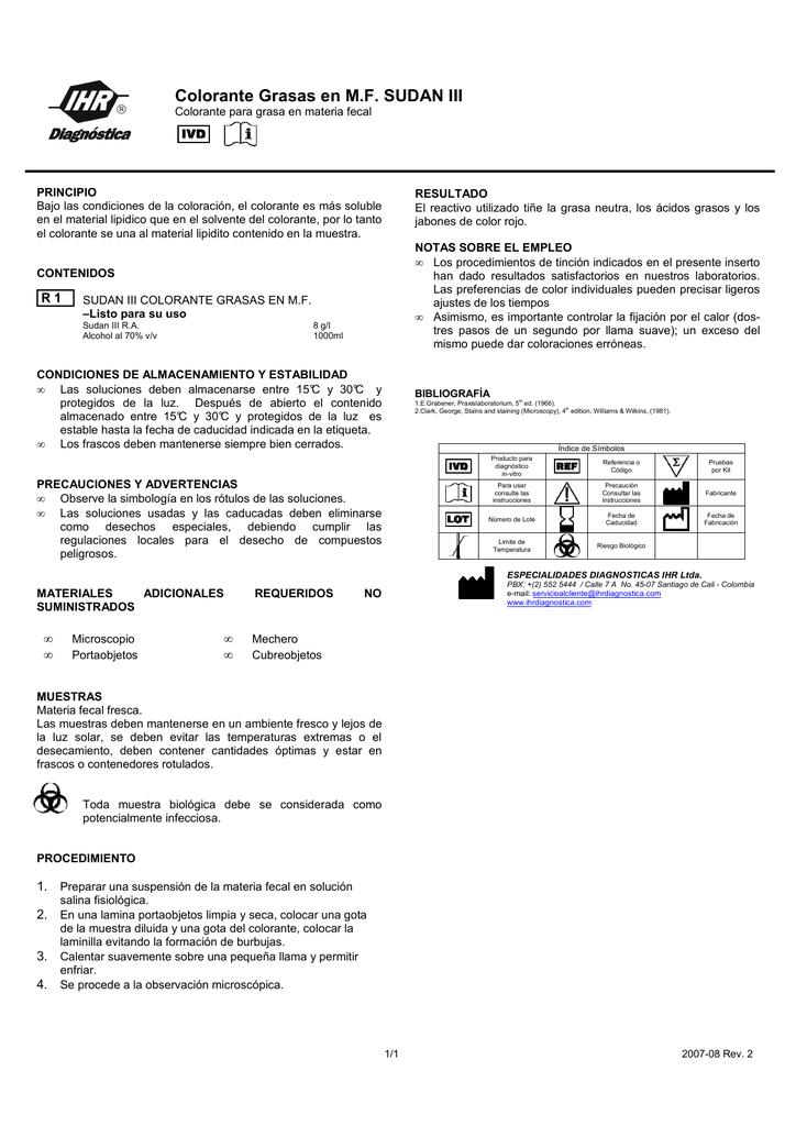 Colorante Grasas en MF SUDAN III - Especialidades Diagnósticas