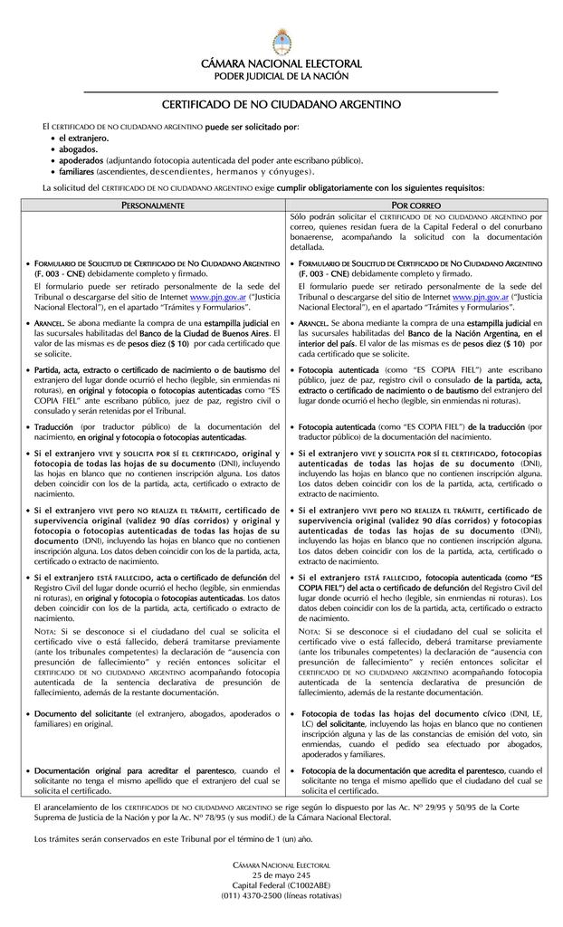 cámara nacional electoral certificado de no ciudadano argentino