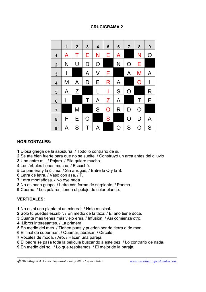 Crucigrama nº 2 SOLUCIONES - Identificación de talentos