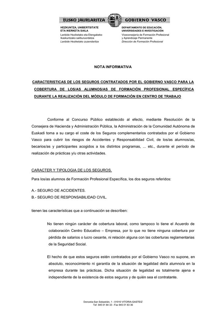 Nota Informativa Seguros Complementarios Módulo Fct