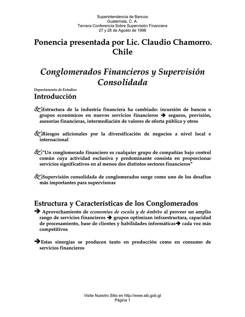 Conglomerados Financieros Y Supervisión Consolidada