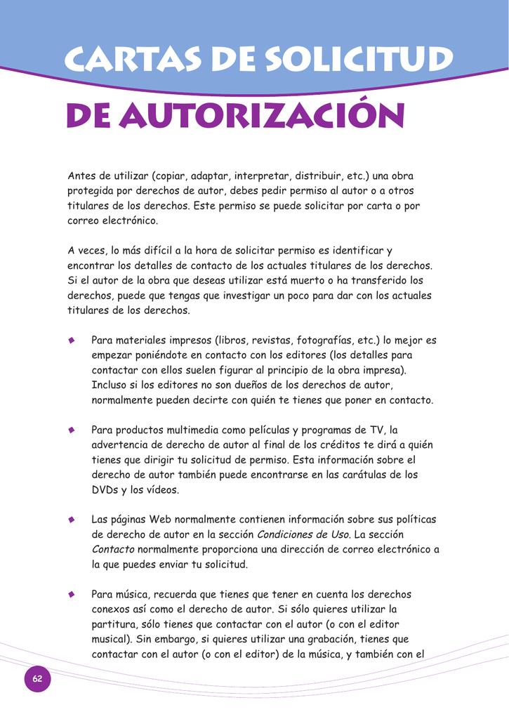 CARTAS DE SOLICITUD DE AUTORIZACIÓN