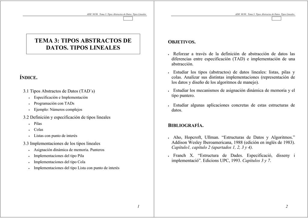 Tema 3 Tipos Abstractos De Datos Tipos Lineales
