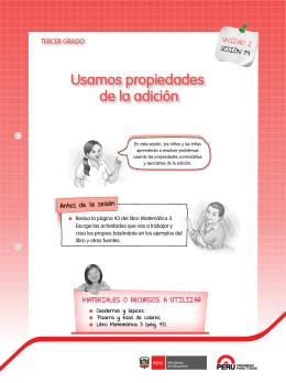 """HOJA DE TRABAJO MATEMÁTICAS """"PROPIEDADES DE LA"""