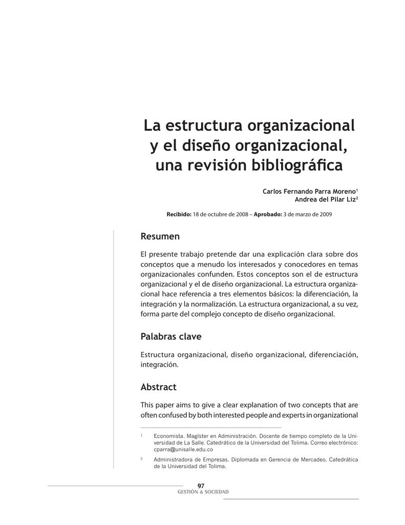 La Estructura Organizacional Y El Diseño Organizacional