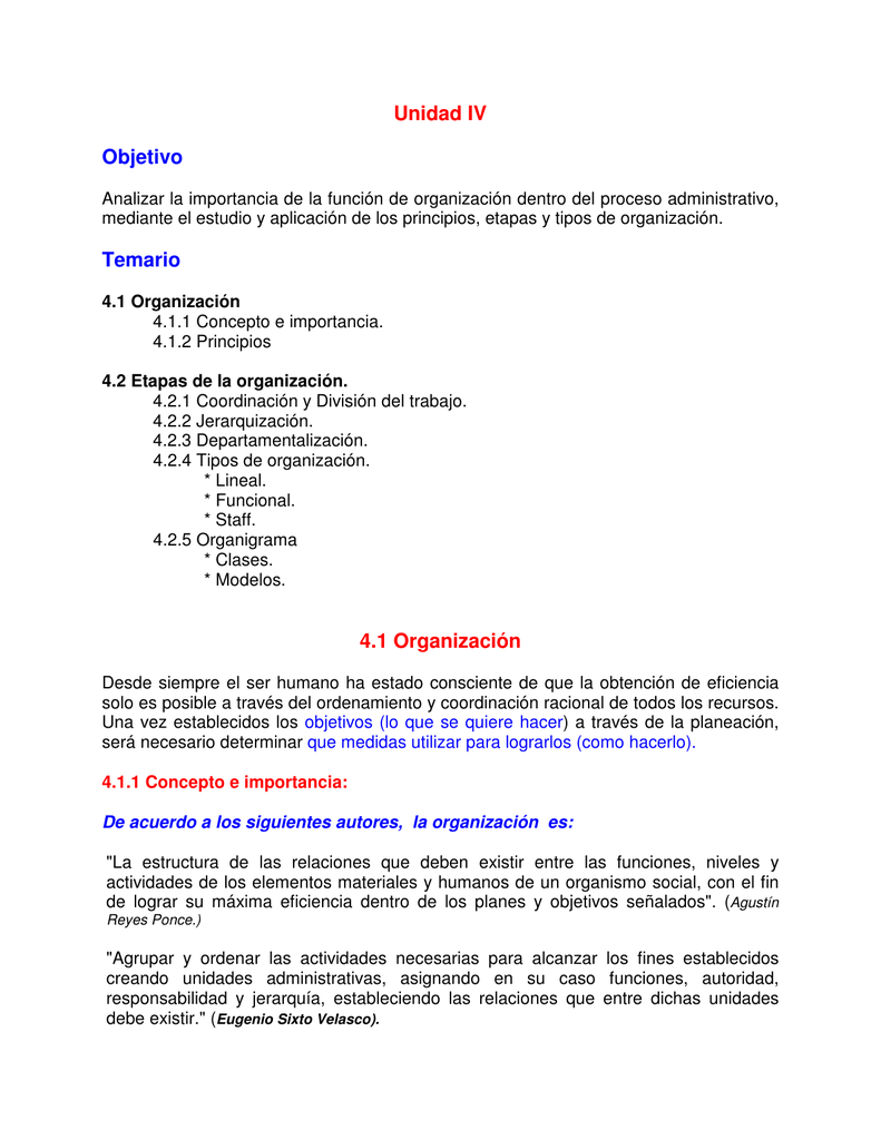 Unidad Iv Objetivo Temario 4 1 Organización