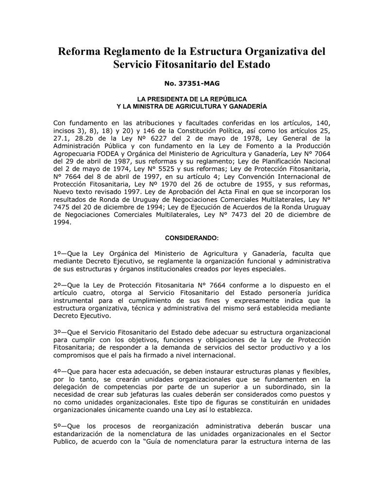 Reforma Reglamento De La Estructura Organizativa Del Servicio