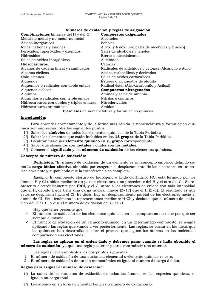Números de oxidación y reglas de asignación Combinaciones