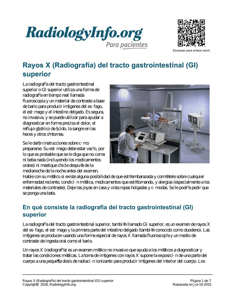 Rayos X (Radiografía) del tracto gastrointestinal