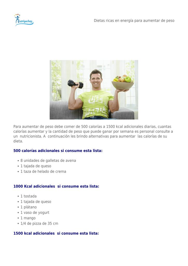 Nutricionista dietas para subir de peso