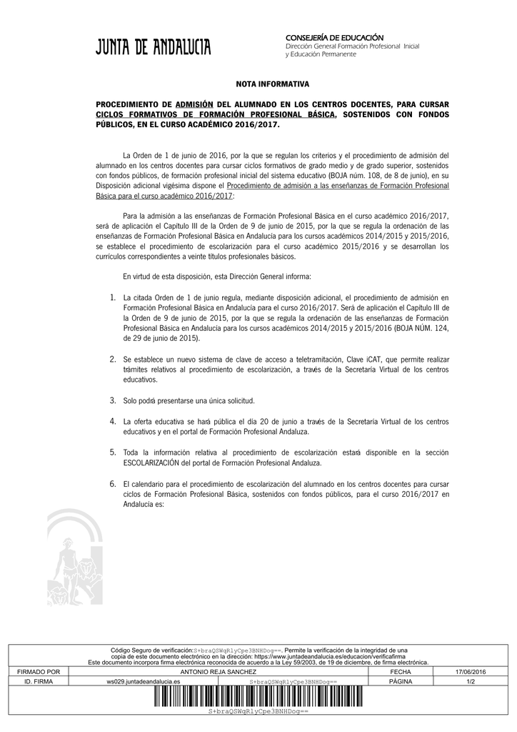 Nota Informativa Admisión Fp Básica