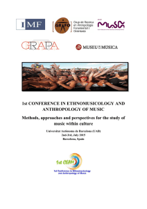1st CONFERENCE IN ETHNOMUSICOLOGY AND