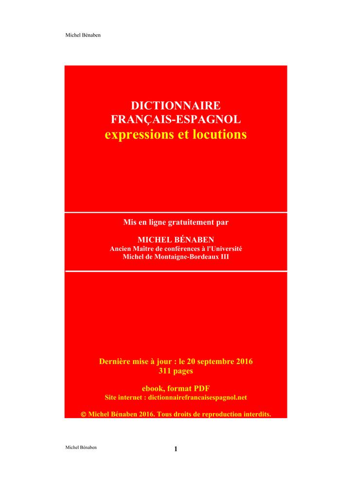 dictionnaire franÇais-espagnol expressions et locutions