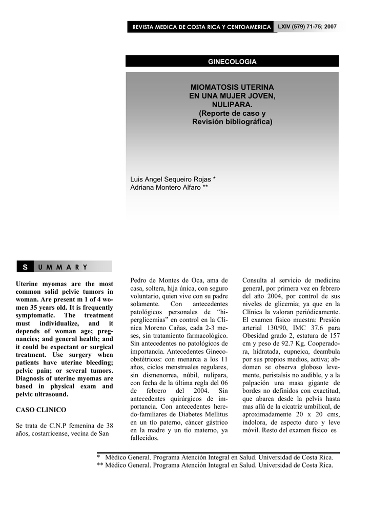 mioma tratamiento uterino emedicina diabetes