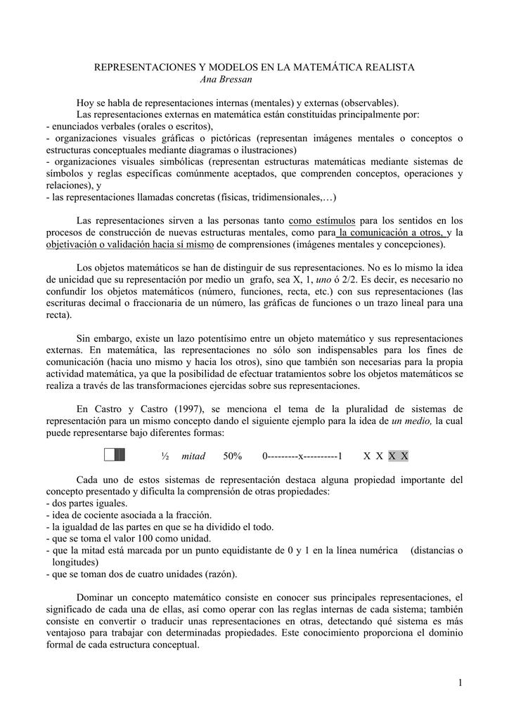 Representaciones Y Modelos En La Ed Matemática Realista
