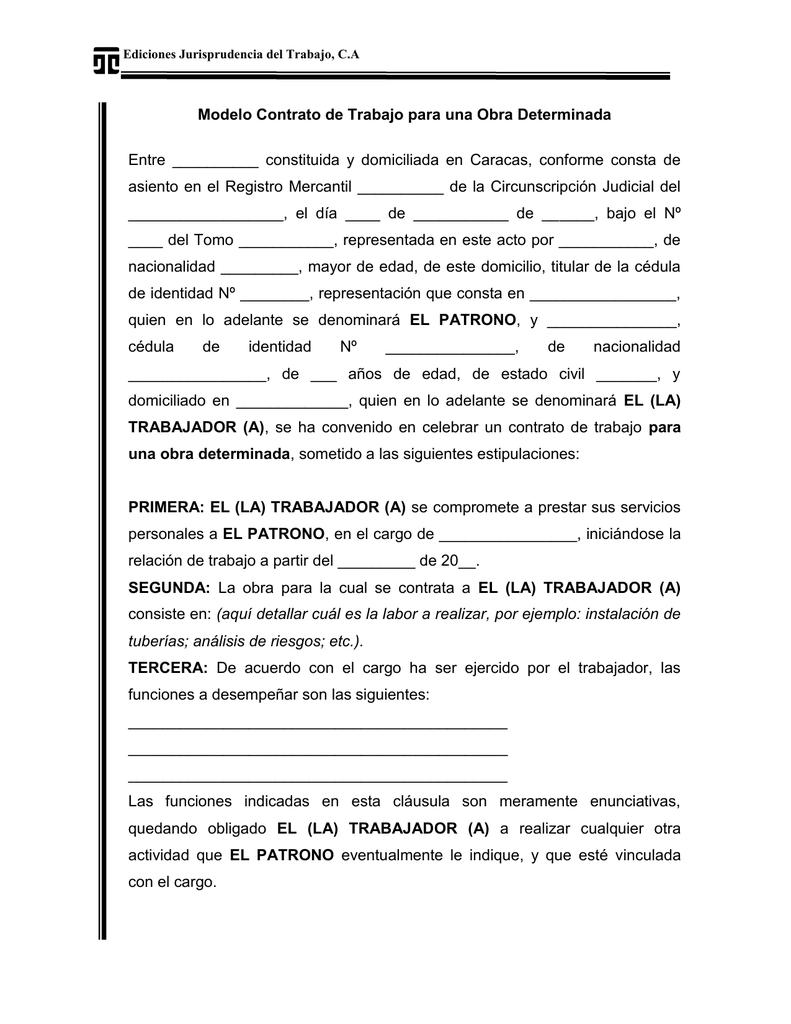 Modelo Contrato De Trabajo Para Una Obra Determinada Juris