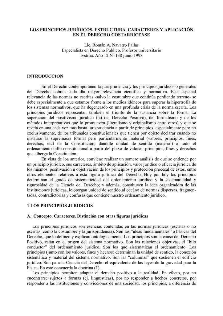 Los Principios Jurídicos Estructura Caracteres Y Aplicació