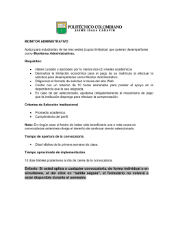 Requisitos monitor administrativo