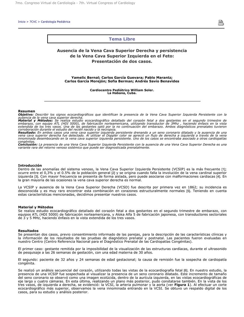 Tema Libre Ausencia de la Vena Cava Superior Derecha y