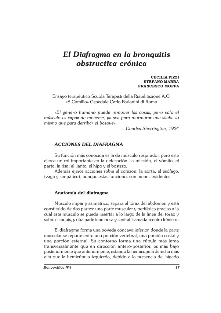 El Diafragma en la bronquitis obstructiva crónica