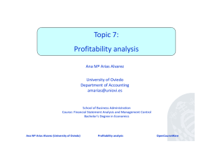Topic 7: Profitability analysis