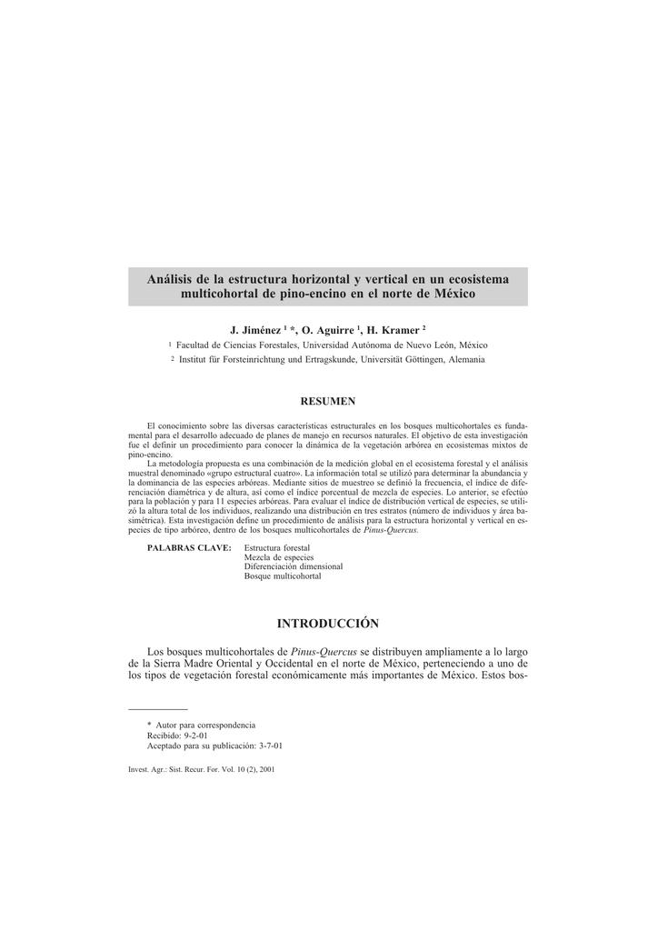 Análisis De La Estructura Horizontal Y Vertical En Un Ecosistema