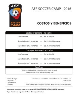 costos y beneficios aef soccer camp - 2016