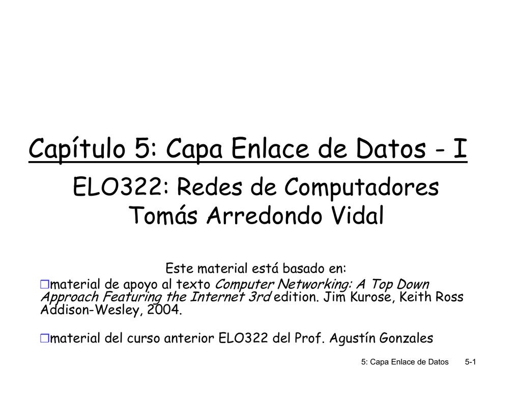 Capítulo 5: Capa Enlace de Datos