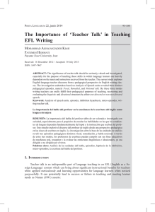The Importance of `Teacher Talk` in Teaching EFL Writing