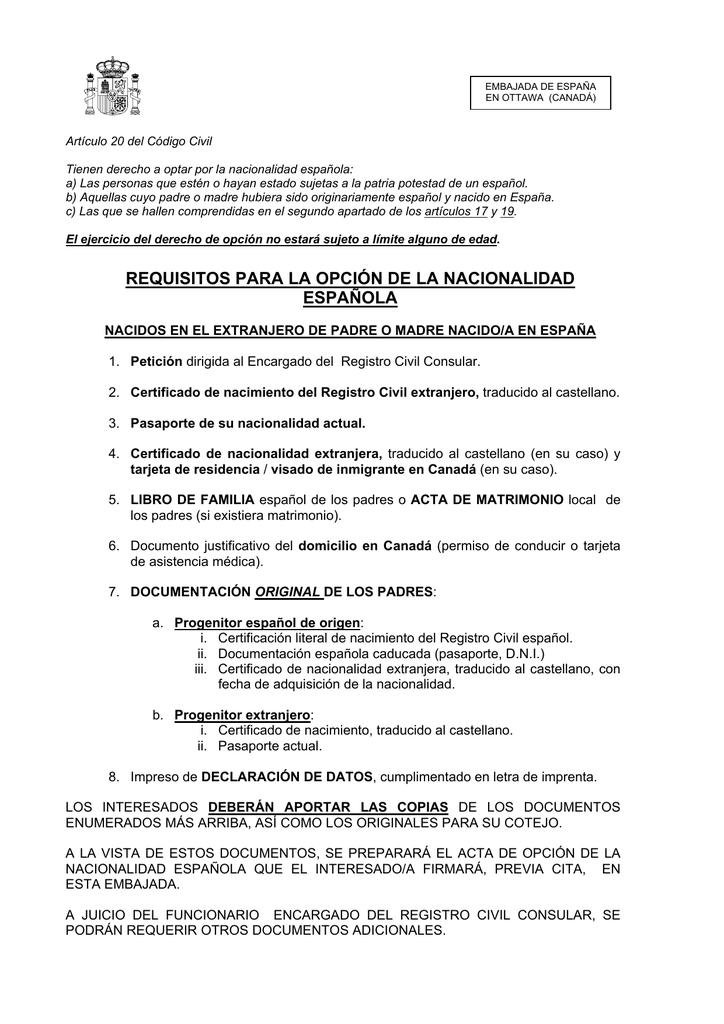 Opción a la nacionalidad española de personas nacidas en el