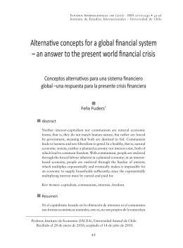 Alternative concepts for a global financial system