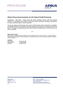 Airbus Group Announcement on U.K. Export Credit Financing
