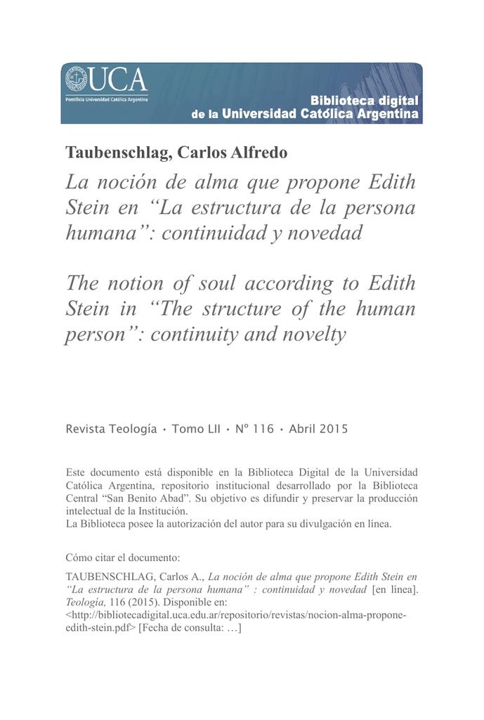 La Noción De Alma Que Propone Edith Stein En La Estructura